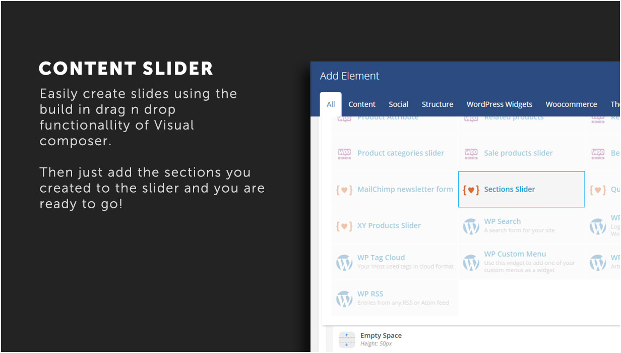 Content slider to easily create slider using Visual Composer content