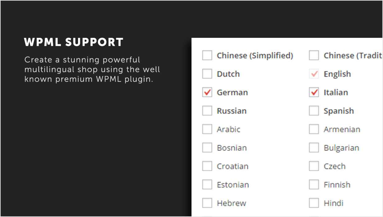 WPML Support to create your multilingual shop