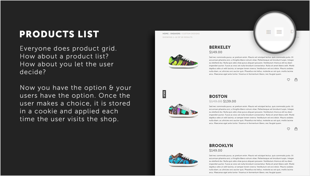 Products list as an alternative view