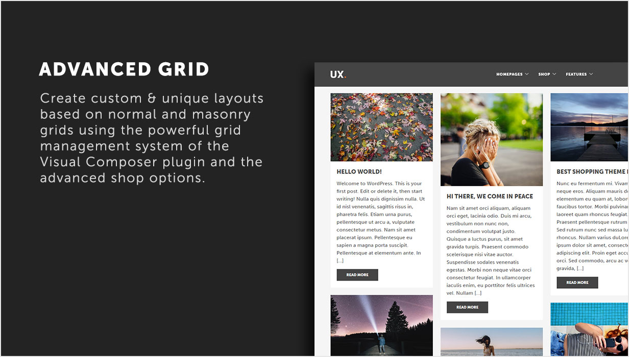 Advanced grid options using Visual Composer